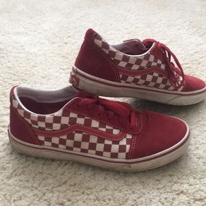 Boys red checked Vans 6Y
